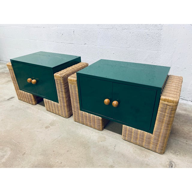Mid-Century Modern Mid Century Modern Rattan Nightstands, 1970s - a Pair For Sale - Image 3 of 12