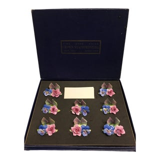 Vintage Crown Staffordshire Style Place Card Holders - Set of 8 For Sale