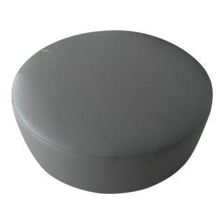 Desiree Divani Leather Round Ottoman For Sale