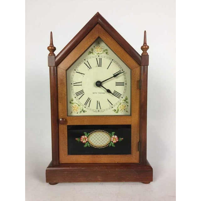Wood Vintage Seth Thomas Gothic Cottage Steeple Clock For Sale - Image 7 of 7