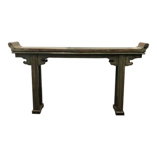 Antique Asian Green Painted Wood Alter Table