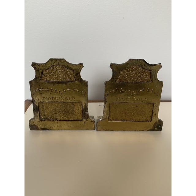 1920s Antique Chinoiserie Bronze Madrigale Bookends by Pompaian-a Pair For Sale In Raleigh - Image 6 of 7