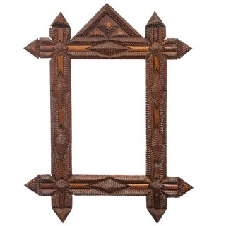 Tramp Art Frame with Original Mirror For Sale