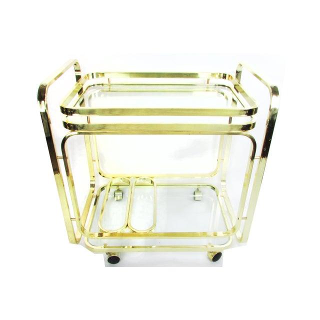 Milo Baughman Brass Bar Cart - Image 2 of 7