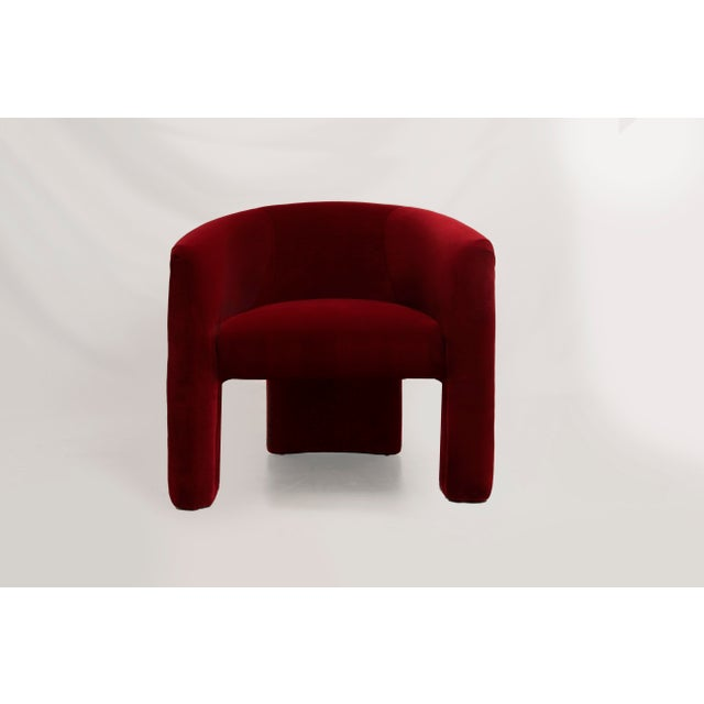 Art Deco Vintage Mid Century Vladimir Kagan Style Plush Red Velvet Lounge Chairs- a Pair For Sale - Image 3 of 6