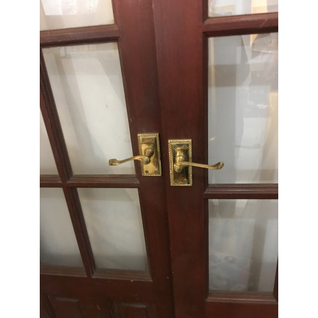 English English Glass Doors With Brass Hardware - A Pair For Sale - Image 3 of 7