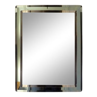 Italian Fontana Arte Inspired Beveled Mirror With a Green Border For Sale