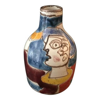 Desimone Italy Signed Self Portrait Bottle With Flower and Bird For Sale