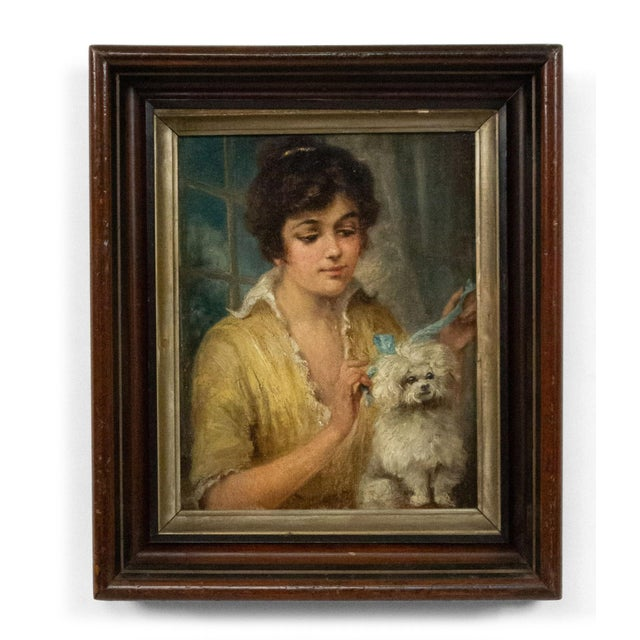 French Victorian Lady and Poodle Portrait For Sale In New York - Image 6 of 6