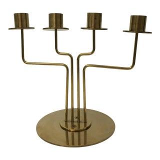 Mid-Century Modern Style 4-Arm Brass Candelabra For Sale