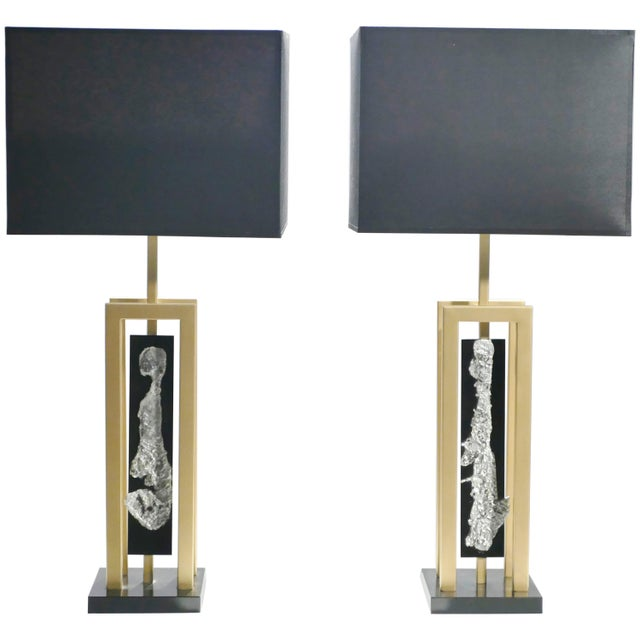 Pair of Large Philippe Cheverny Brass and Nickel Table Lamps, 1970s For Sale - Image 11 of 11