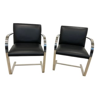 Mid 20th Century Vintage Knoll Flat Bar Brno Chairs - Pair For Sale