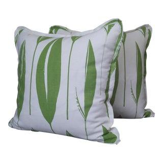 Raoul Textiles Throw Pillows in Variegata Linen Print - a Pair For Sale