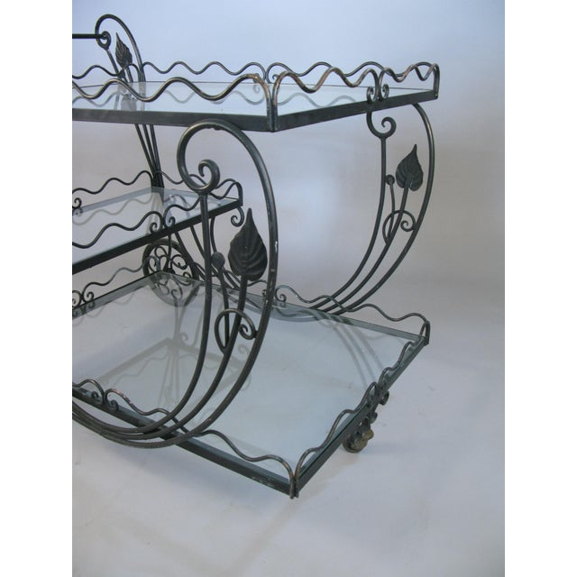 1960s Vintage 1950's Wrought Iron Scroll Bar Cart For Sale - Image 5 of 8