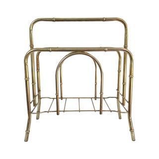 Midcentury Brass Bamboo Magazine Rack