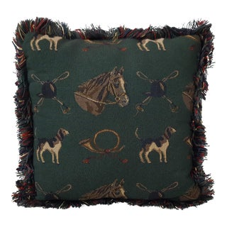 Vintage Equestrian Horse Toss Pillow For Sale