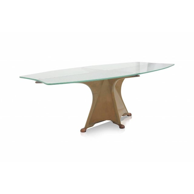 Elegant dining table by Oscar Tusquets Blanca, Spain, 1985 Painted wood base, etched glass top and bronze feet....