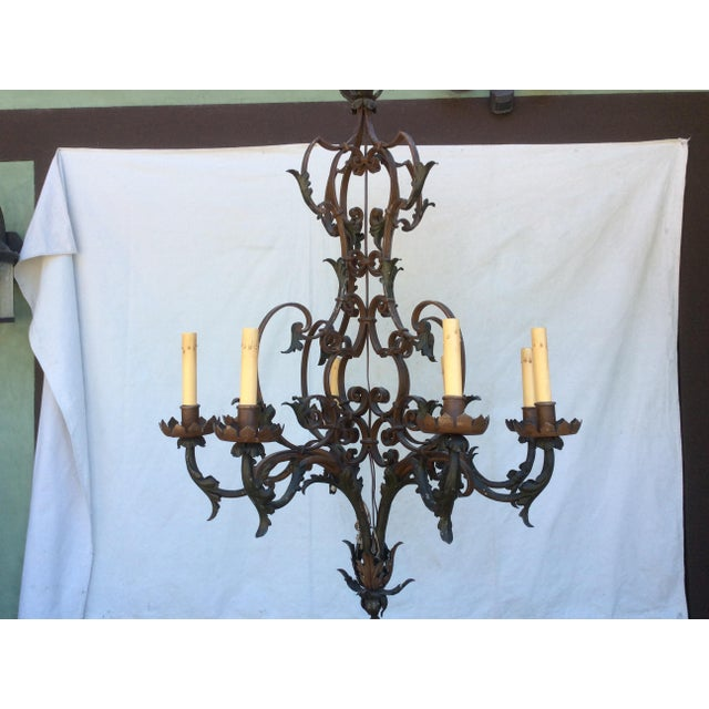 Antique Scrolling Iron Chandelier For Sale - Image 11 of 11