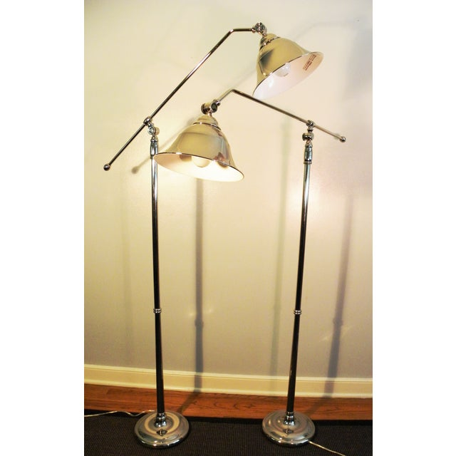 Vintage Swing-Arm Chrome Floor Lamps - A Pair - Image 2 of 9