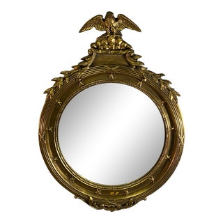 American Classical Bullseye Mirror With Eagle For Sale