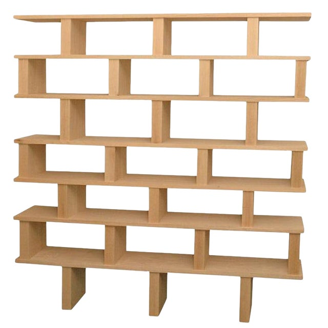 "Contemporary ""Verticale"" Solid Natural Oak Shelving Unit For Sale"