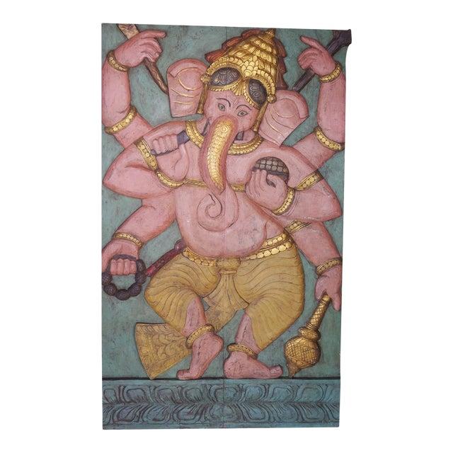 Vintage Ganesha Good Luck Sculpture Carved Panel Door For Sale