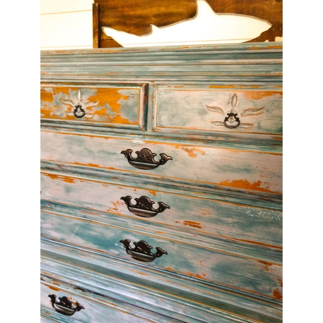 Blue Distressed Coastal Solid Maple Tallboy/Dresser/Chest of Drawers For Sale - Image 8 of 10