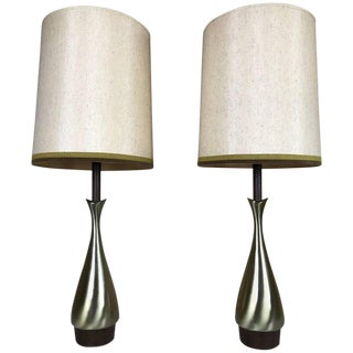 Pair of Modernist Fluted Brass and Wood Tables Lamps by Laurel Lamp Co. For Sale