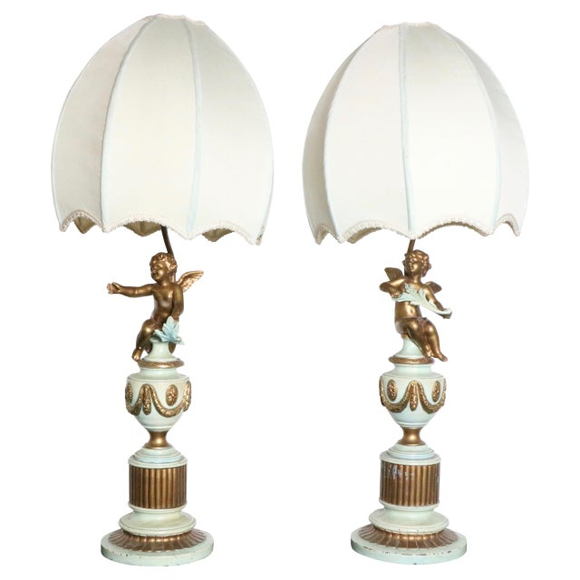 French Style Angel Table Lamps - A Pair - Image 1 of 8