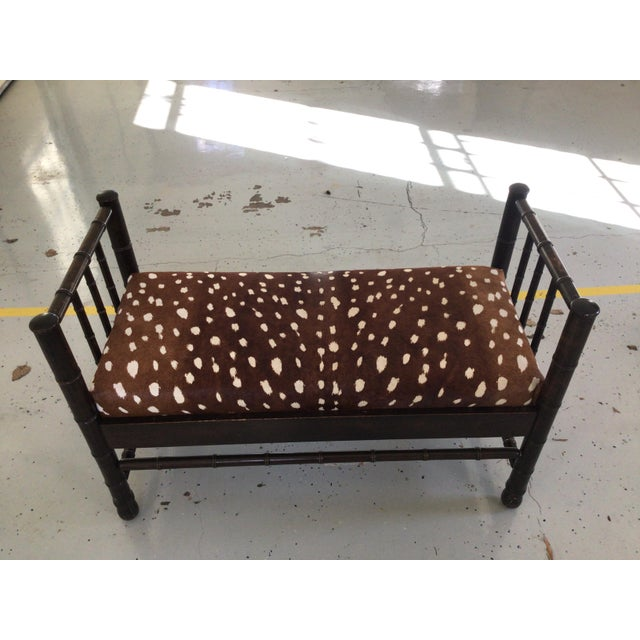 Antique Hair on Hide in Chocolate Brown & White Bench For Sale In Atlanta - Image 6 of 6