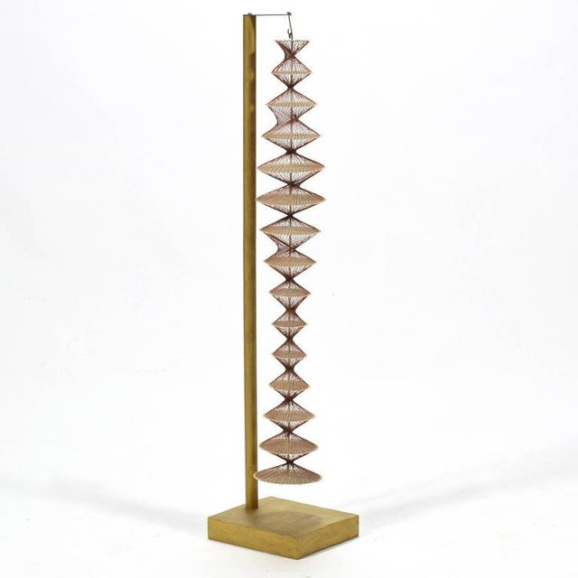 Mid-Century Modern Abstract Geometric Sculpture in Steel and String For Sale - Image 3 of 9