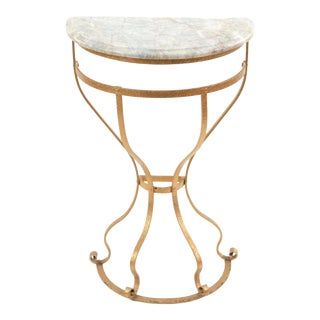 Gilt Bronze & Grey Marble Top Demilune Console For Sale