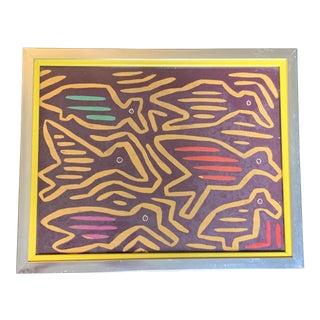 1970s Vintage Folk Art Framed Mola Bird Textile Art For Sale