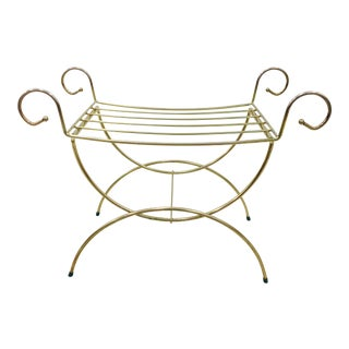 Vintage Hollywood Regency Brass Vanity Bench For Sale