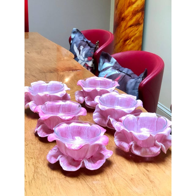 Six exquisite pink handblown Murano glass finger bowls or dessert bowls. The original blue paper label is on the underside.