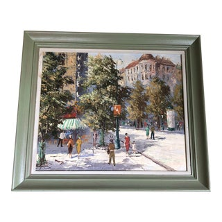 1930s Vintage French Framed Oil Painting For Sale
