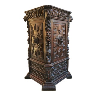 Antique French Carved Oak Renaissance Corner Cabinet For Sale