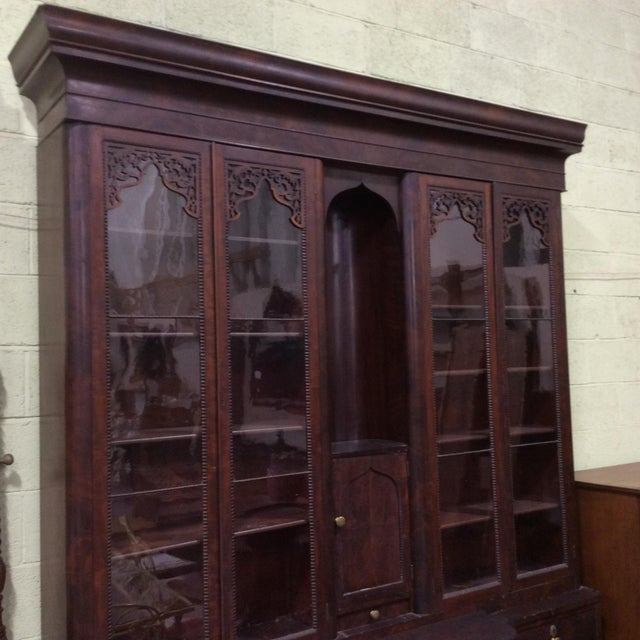 Classical carved and veneered mahogany gentleman's breakfront secretary bookcase. I purchased this fully expecting it to...