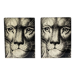 Fornasetti Enamel Lion Face Bookends - a Pair For Sale
