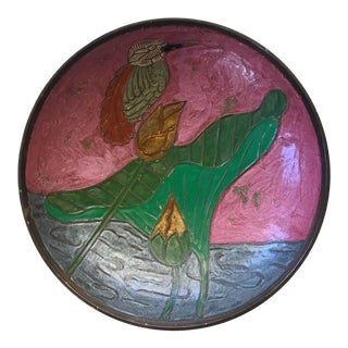 Mid-Century Brass Encased Cloisonné Bowl With Hummingbird For Sale