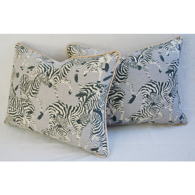 "Tan Safari Zebra Linen/Velvet Feather & Down Pillows 24"" X 18"" - Pair For Sale - Image 8 of 11"