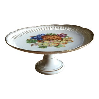 Vintage Pedestal Plate Fruit Design For Sale