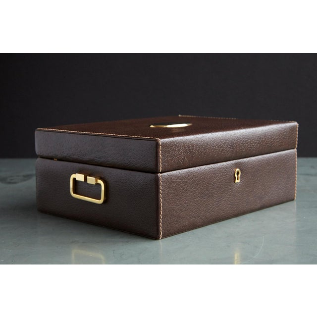Mark Cross Leather Brown Leather Jewelry Box From the Collection of Ann Turkel For Sale - Image 10 of 13