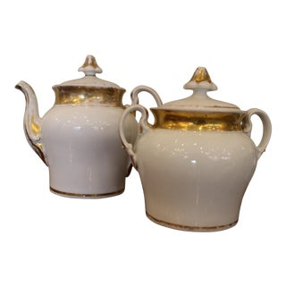 19th Century French Country Old Paris Porcelain Coffee or Tea Pot and Lidded Jar - 2 Pieces