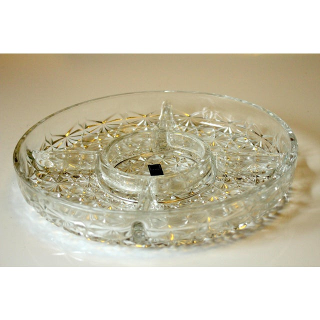 Mid-Century Lead Crystal Glass 5 Compartment Appetizer Tray For Sale - Image 6 of 6