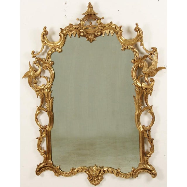 Chinese Chippendale Style Giltwood Mirror With Pagoda Top For Sale - Image 11 of 11