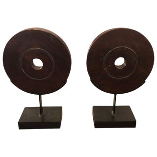 1970s Rustic Striking Carved Wood Circle Motife Sculptures - a Pair For Sale