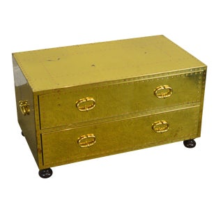 Sarreid Vintage Brass Clad 2 Drawer Chest For Sale
