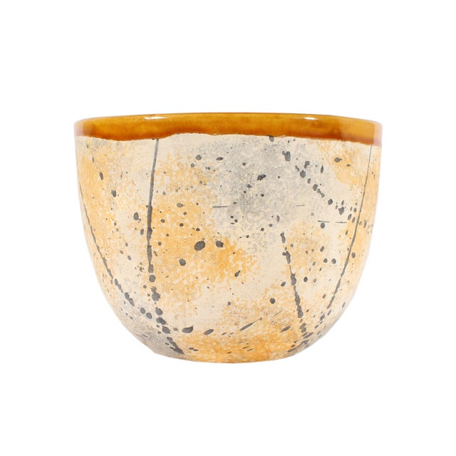 Ceramic Bitossi Italian Ceramic Yellow and Gray Speckle Planter For Sale - Image 7 of 7