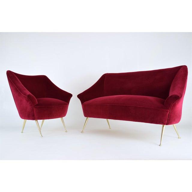 Italian Midcentury Velvet Sofa in the Manner of Ico Parisi, 1950s For Sale - Image 6 of 13